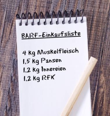 BARF Einkaufsliste